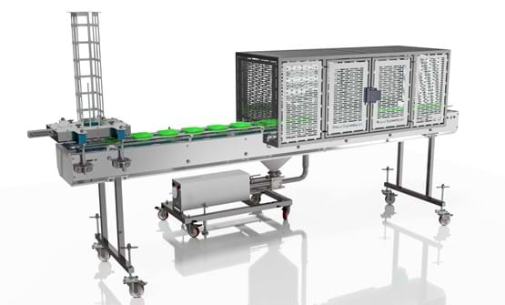 Indexing conveyor with filler